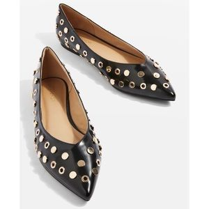TopShop Alibi Patent Studded Pointed Toe Flats